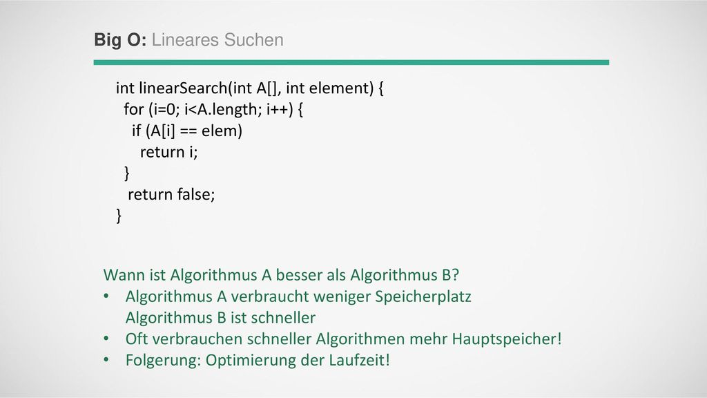 int linearSearch(int A[], int element) {